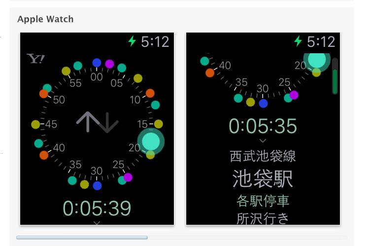 Yahoo!乗換案内 Apple Watch 画面